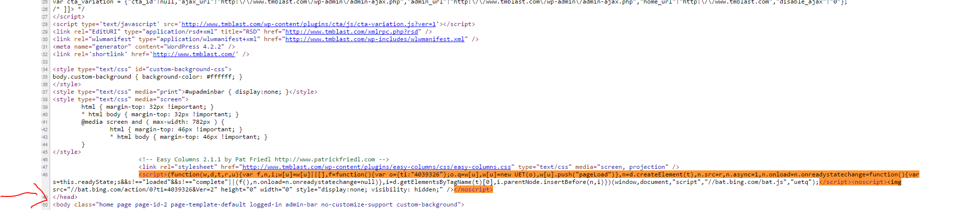Here is the tracking code that is right before the head in Bing Ads