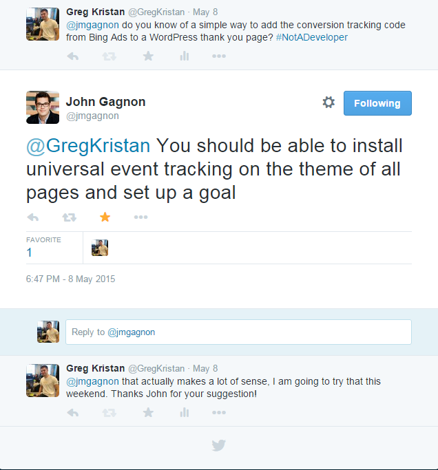 John Gagnon Twitter Conversation with Greg Kristan