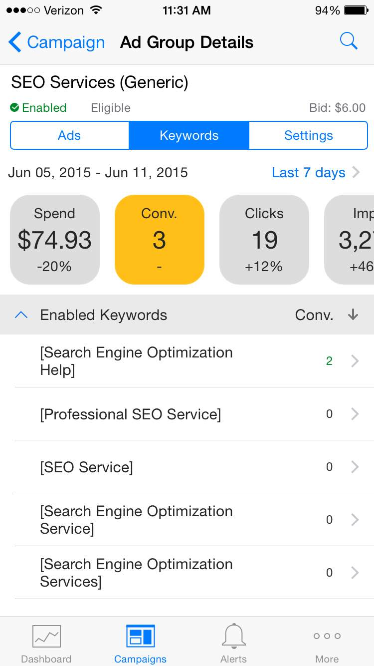 Converting Keywords for TM Blast in Bing Ads iOS application