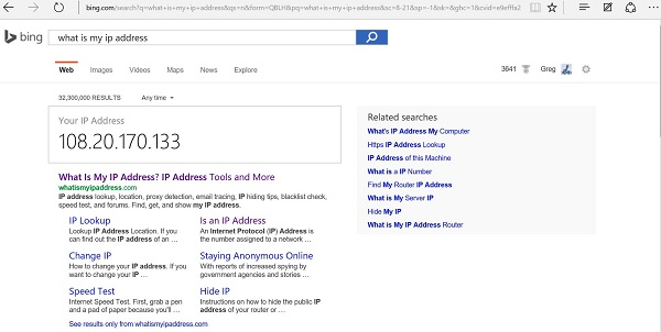 My IP Address in Bing's Search Answer Box