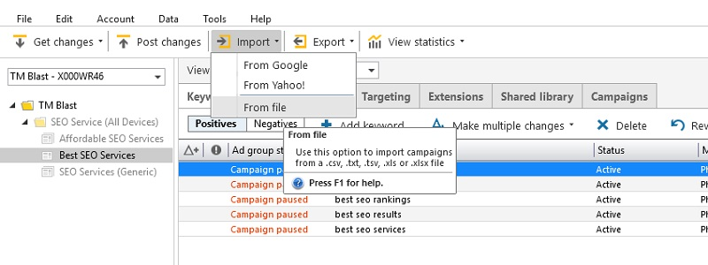 Bing Ads Editor Import from a File