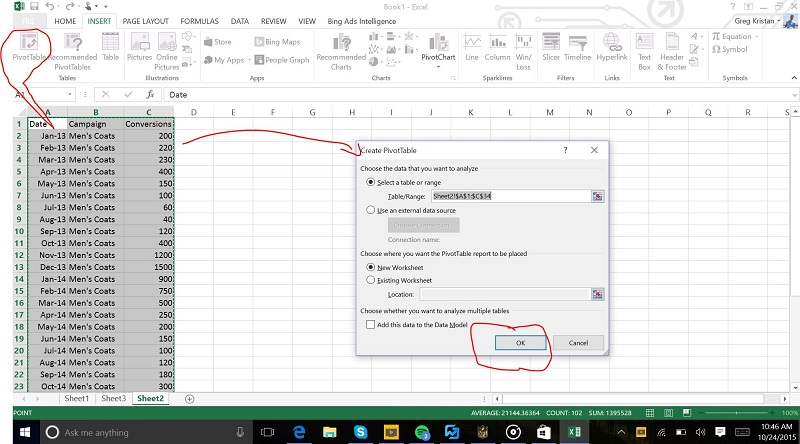 Creating a Pivot Table in Excel