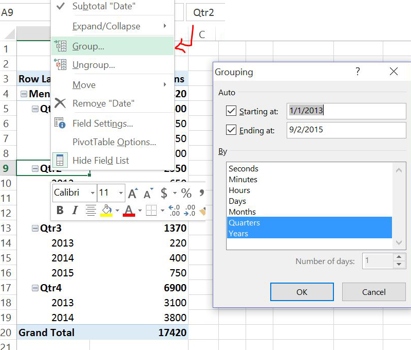 How to create date groups in a pivot table easily