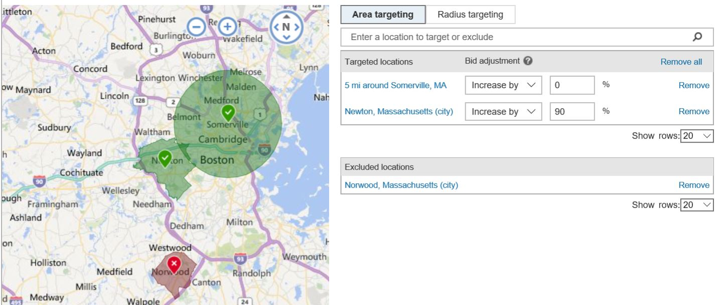 Area Targetting and Radius Targeting Bing Ads
