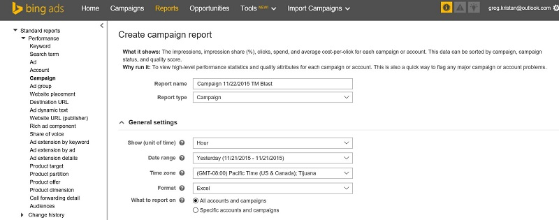 Bing Ads Report Dashboard