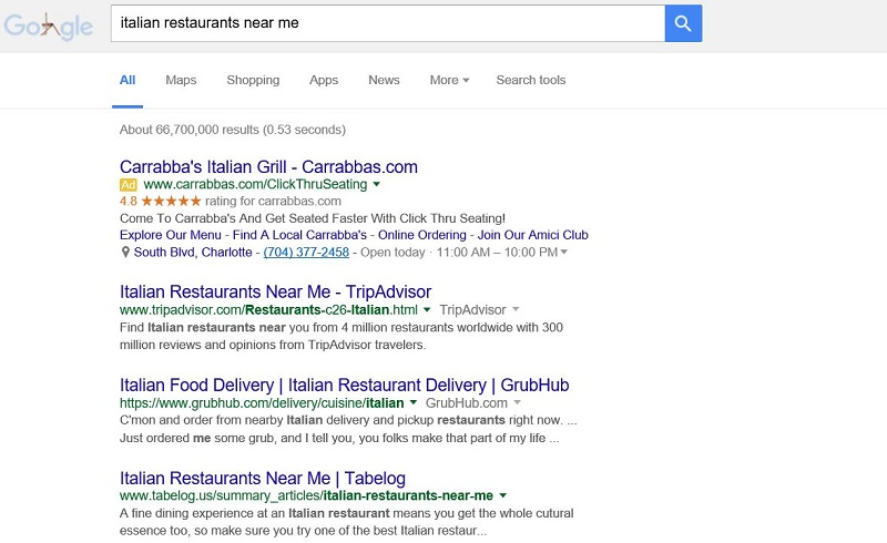 Italian Restaurants Near Me in Google