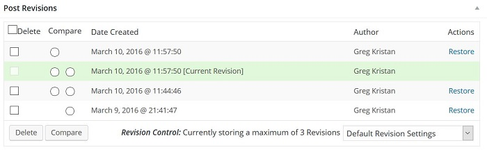 Post Revisions Plugin for WordPress