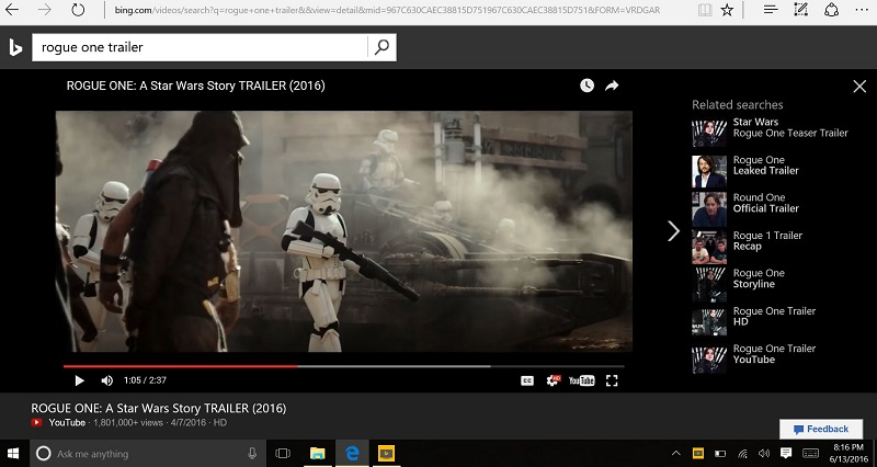 Bing Movie Trailer Video Search No Ads