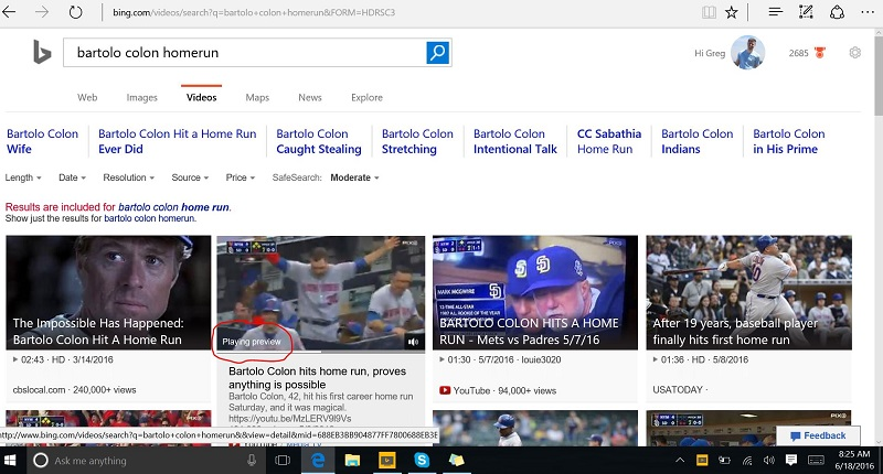 Bing Video Preview Search