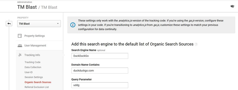 DuckDuckGo Organic Search Source Google Analytics