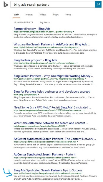 Bing Original SERP Listing Before Making a Change