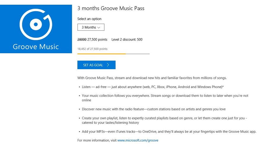 Groove Microsoft Rewards Gift