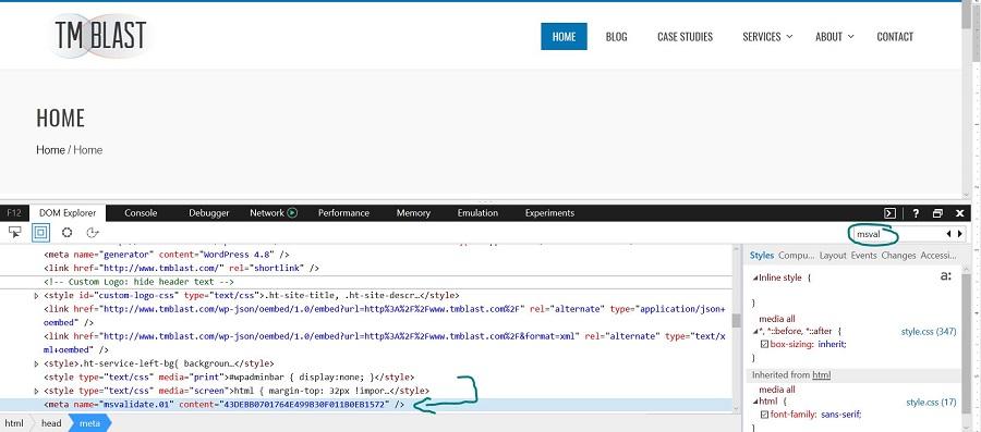 Verifiy Bing Webmaster Tools