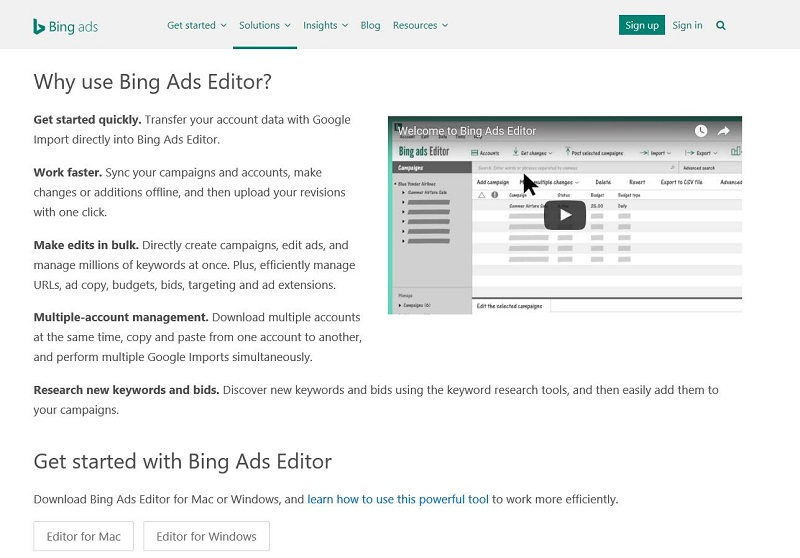 Bing Ads Editor Homepage
