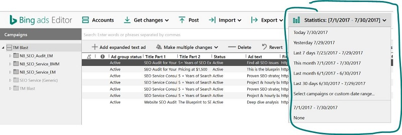 Statistics Bing Ads Editor