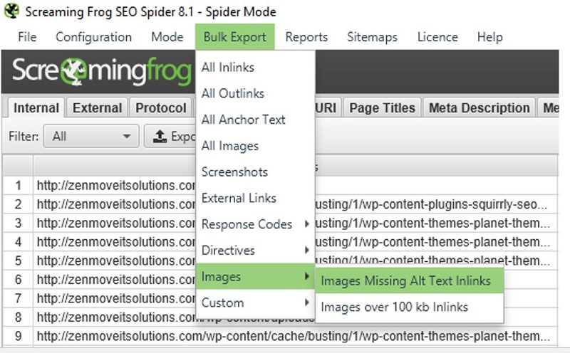 How to Find Images that are Missing ALT Tags using Screaming Frog