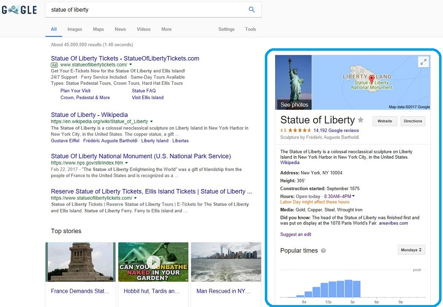 Statue of Libery Google Knowledge Cards