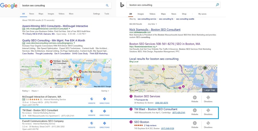 Google and Bing Maps Optimzation for TM Blast