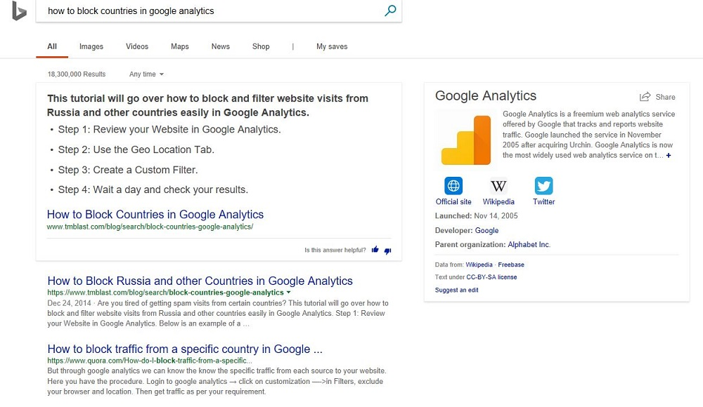 Ranking in Bing for an Answer Box