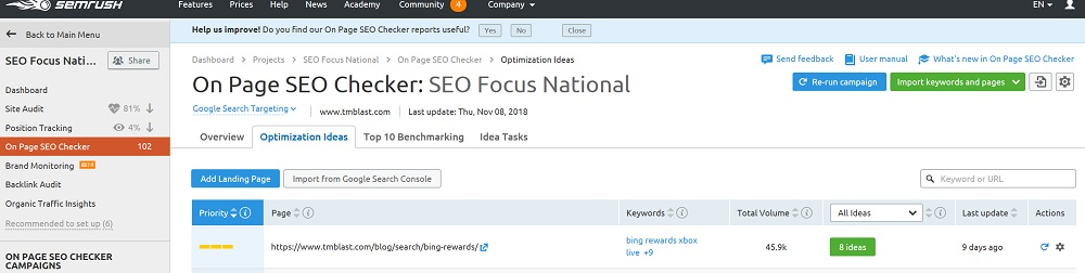 Running an On Page SEO Report for Key Target Blog Post to find Semantic Ideas