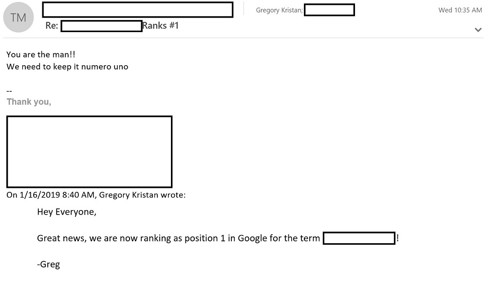 Client Conversation Redacted Showing Position 1 Ranking