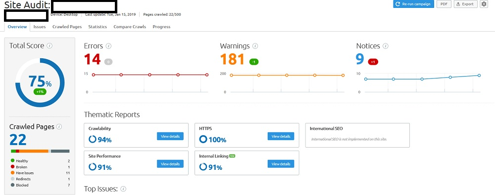 Technical SEO Audit used for My Clients Dashboard