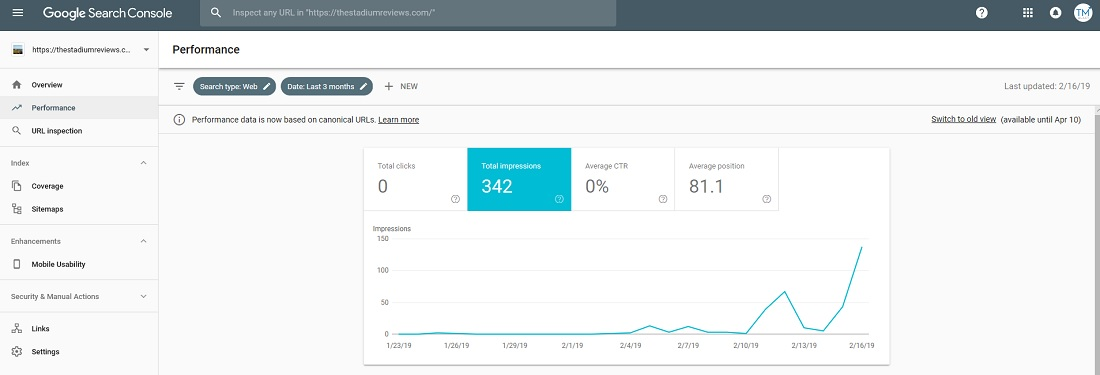 Using Google Search Console to measure my KPI (impressions)