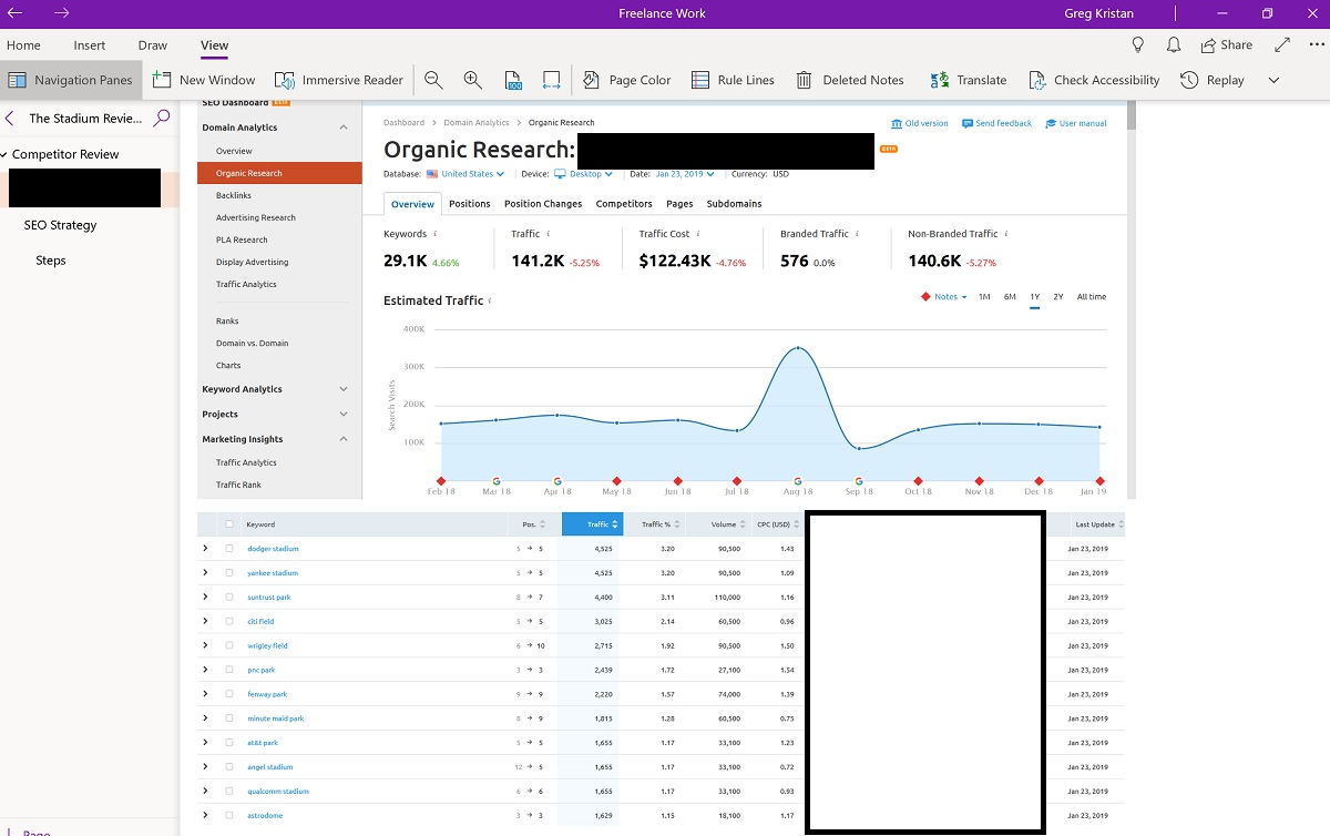 Using OneNote for a New Website SEO Strategy