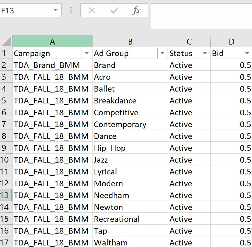 Ad Group Build Using Excel