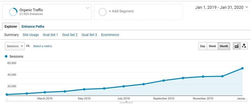 Growth in Organic Traffic in Google Analytics