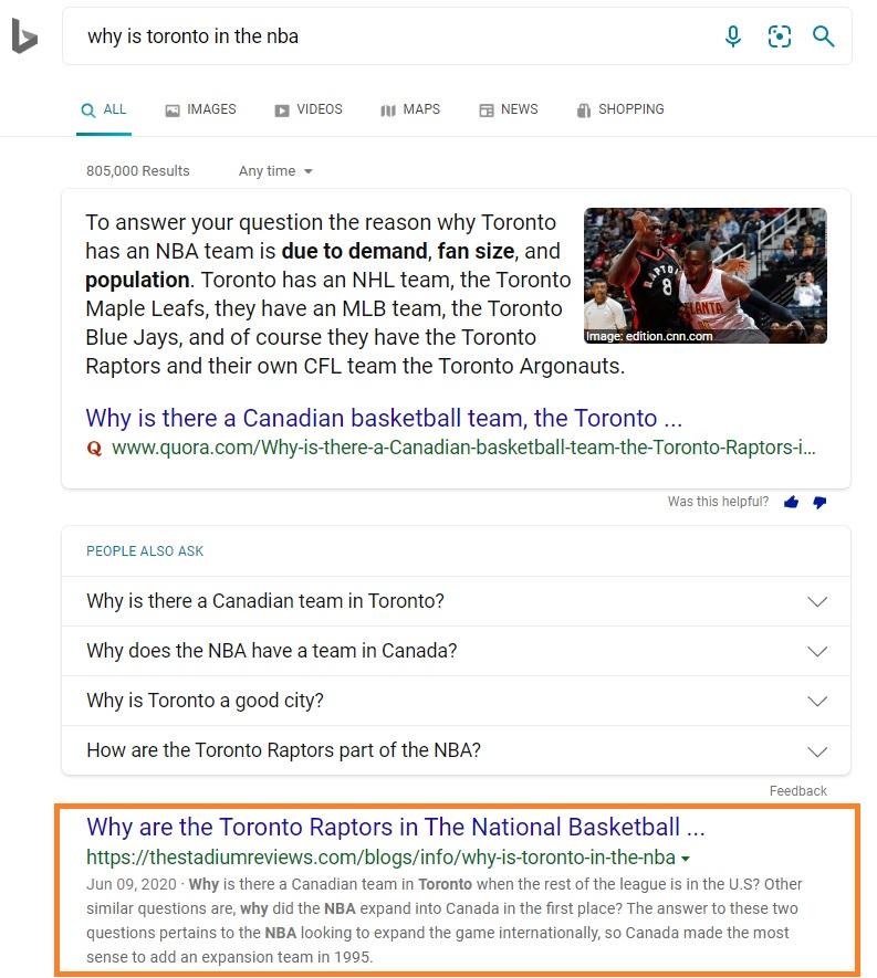 Ranking in Bing