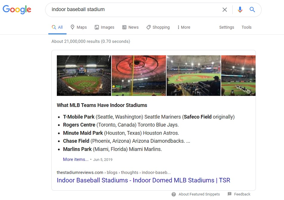 Featured Snippet Win in Google