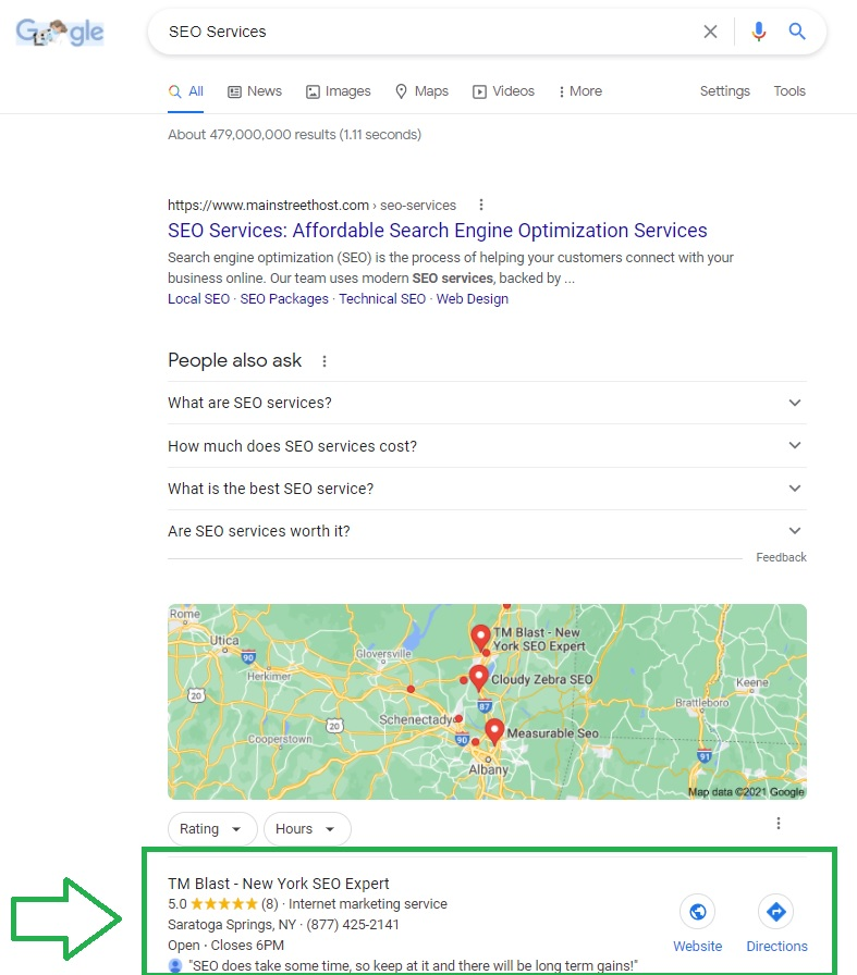 TM Blast Ranking on Page 1 of Google for SEO Services