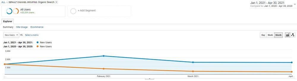 New Users up Over 100% in SEO